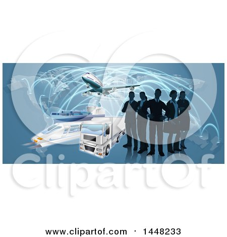 Clipart of a Silhouetted Logistics Business Team Standing over a Map with a Plane, Truck, Train and Ship - Royalty Free Vector Illustration by AtStockIllustration