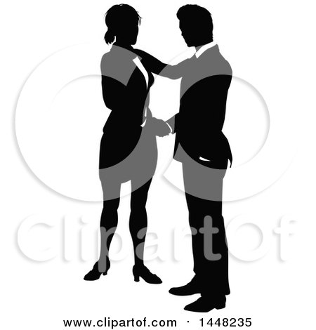 Black and White Silhouetted Business Woman and Man Shaking Hands Posters, Art Prints