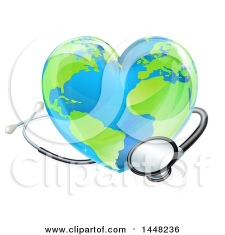 Clipart of a 3d Medical Stethoscope Around a Heart World Earth Globe - Royalty Free Vector Illustration by AtStockIllustration