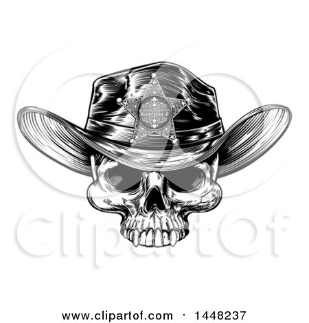 Clipart of a Black and White Vintage Engraved Cowboy Skull Wearing a Sheriff Hat - Royalty Free Vector Illustration by AtStockIllustration