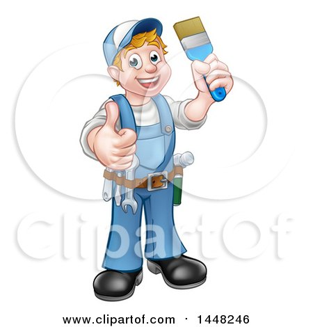 Clipart of a Cartoon Full Length Happy White Male Painter Holding up a Brush and Giving a Thumb up - Royalty Free Vector Illustration by AtStockIllustration