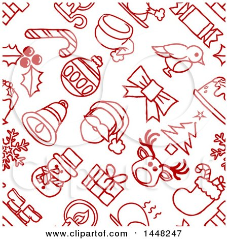 Clipart of a Seamless Red and White Christmas Icon Pattern Background - Royalty Free Vector Illustration by AtStockIllustration