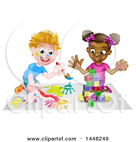 Cartoon Happy Black Girl Playing with Toy Blocks and White Boy Painting Posters, Art Prints