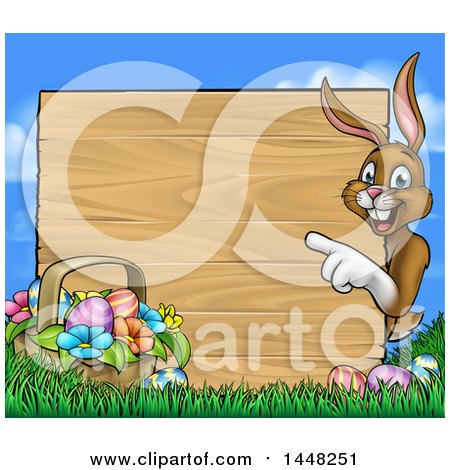Clipart of a Cartoon Happy Brown Easter Bunny Rabbit Pointing Around a Wood Sign, with a Basket and Eggs in Grass - Royalty Free Vector Illustration by AtStockIllustration