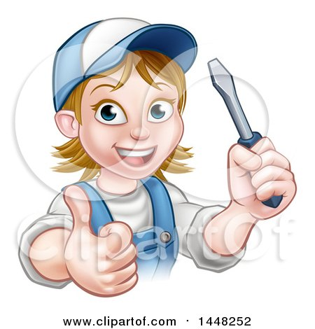 Cartoon Happy White Female Electrician Wearing a Cap, Holding up a Screwdriver and Giving a Thumb up Posters, Art Prints
