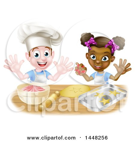 Clipart of a Happy White Boy and Black Girl Making Making Star Cookies and Frosting - Royalty Free Vector Illustration by AtStockIllustration