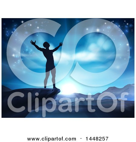 Clipart of a Silhouetted Man in Worship, on a Cliff, Holding His Arms up to a Blue Sky over Mountains - Royalty Free Vector Illustration by AtStockIllustration
