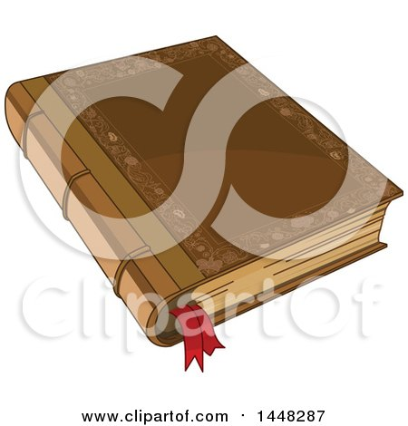 Clipart of a Fairy Tale Book with a Ribbon Bookmark - Royalty Free Vector Illustration by Pushkin