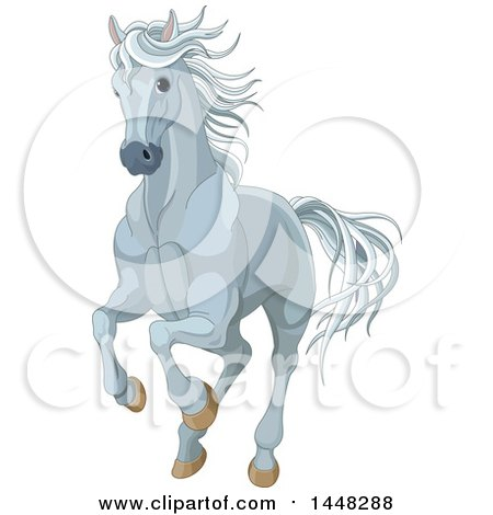 Clipart of a Running Gray Horse - Royalty Free Vector Illustration by Pushkin