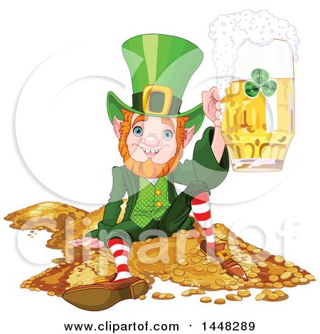 Clipart of a St Patricks Day Leprechaun Holding up a Beer Mug and Sitting on a Pile of Gold - Royalty Free Vector Illustration by Pushkin