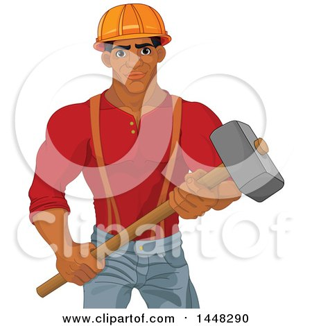 Clipart of a Strong Black Male Demolition Worker Holding a Hammer - Royalty Free Vector Illustration by Pushkin