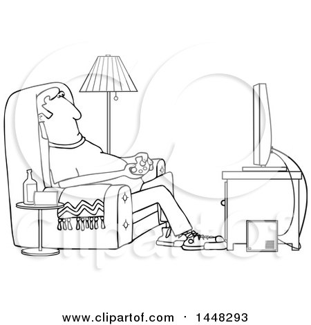 Clipart Of A Cartoon Black And White Lineart Man Paying Video Games In His Living Room