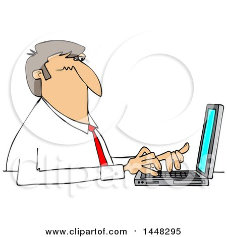 Clipart Of A Cartoon White Business Man Typing On A Laptop Computer Royalty Free Vector Illustration