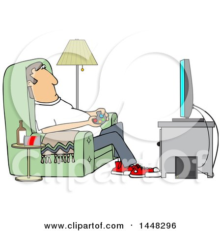 Clipart of a Cartoon Caucasian Man Paying Video Games in His Living Room - Royalty Free Vector Illustration by djart