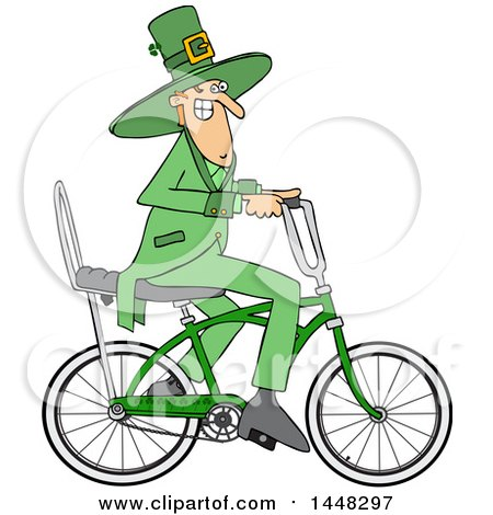 Clipart of a Cartoon St Patricks Day Leprechaun Riding a Bicycle - Royalty Free Vector Illustration by djart