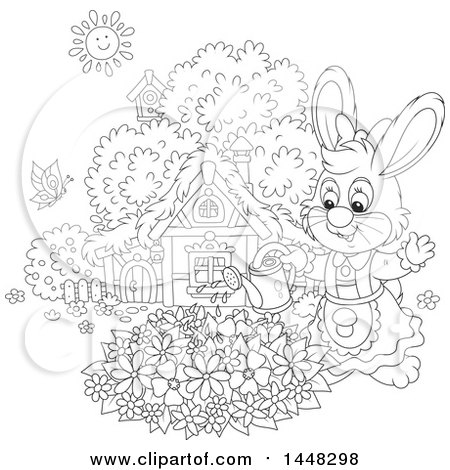 Clipart of a Cartoon Black and White Lineart Female Bunny Rabbit Watering a Flower Garden on a Spring Day - Royalty Free Vector Illustration by Alex Bannykh