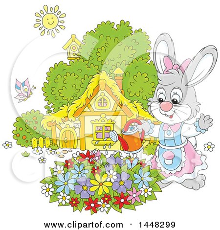Clipart of a Cartoon Happy Female Bunny Rabbit Watering a Flower Garden on a Spring Day - Royalty Free Vector Illustration by Alex Bannykh