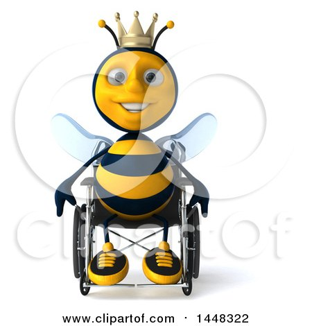Clipart of a 3d Happy King Bee in a Wheelchair, on a White Background - Royalty Free Illustration by Julos