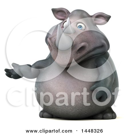 Clipart of a 3d Reggie Rhinoceros Mascot Presenting, on a White Background - Royalty Free Illustration by Julos