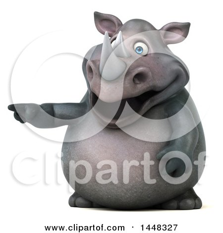 Clipart of a 3d Reggie Rhinoceros Mascot Pointing, on a White Background - Royalty Free Illustration by Julos