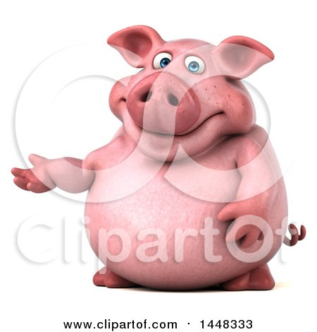 Clipart of a 3d Chubby Pig Presenting, on a White Background - Royalty Free Illustration by Julos