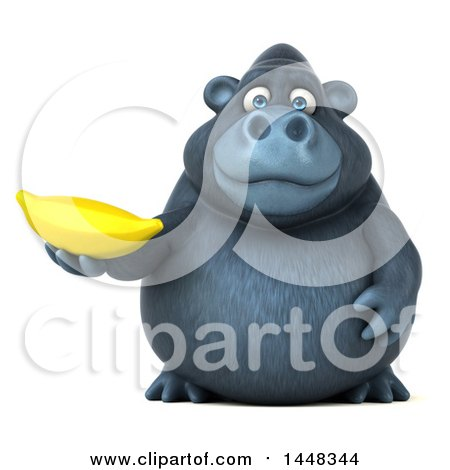Clipart of a 3d Gorilla Mascot Holding a Banana, on a White Background - Royalty Free Illustration by Julos