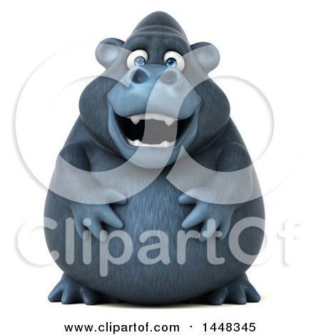 Clipart of a 3d Gorilla Mascot, on a White Background - Royalty Free Illustration by Julos
