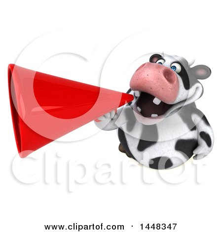 Clipart of a 3d Holstein Cow Character Announcing with a Megaphone, on a White Background - Royalty Free Illustration by Julos