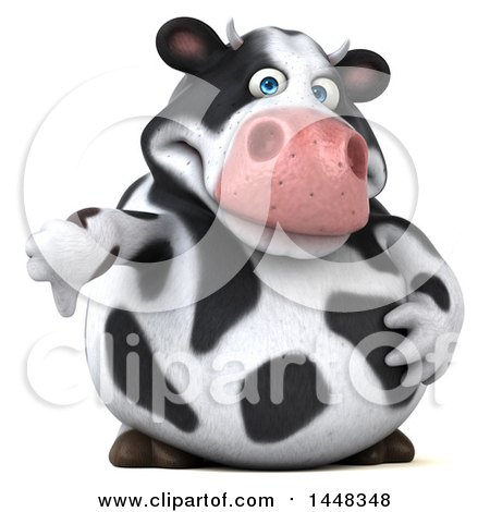 Clipart of a 3d Holstein Cow Character Giving a Thumb Down, on a White Background - Royalty Free Illustration by Julos