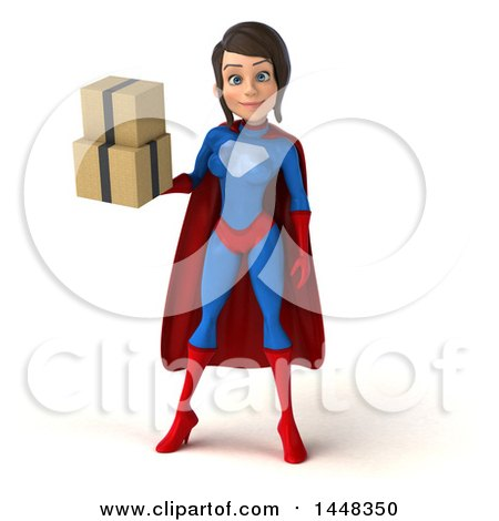 Clipart of a 3d Young Brunette White Female Super Hero in a Blue and Red Suit, Holding Shipping Boxes, on a White Background - Royalty Free Illustration by Julos