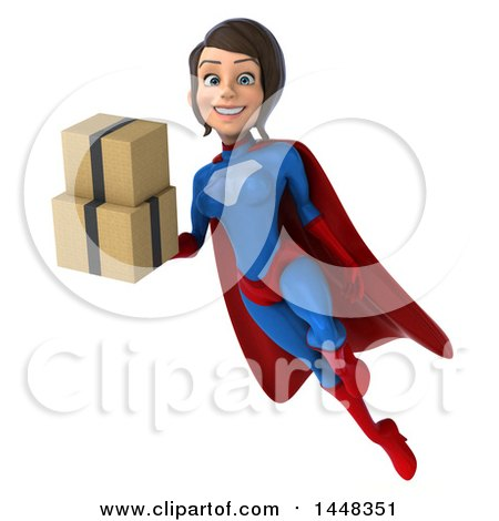 Clipart of a 3d Young Brunette White Female Super Hero in a Blue and Red Suit, Flying and Holding Shipping Boxes, on a White Background - Royalty Free Illustration by Julos