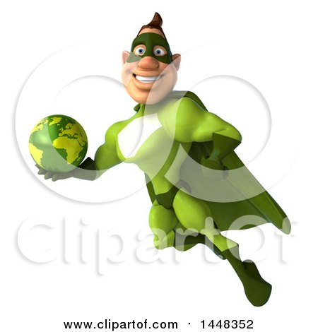 Clipart of a 3d Buff White Male Green Super Hero, Flying with a Globe, on a White Background - Royalty Free Illustration by Julos