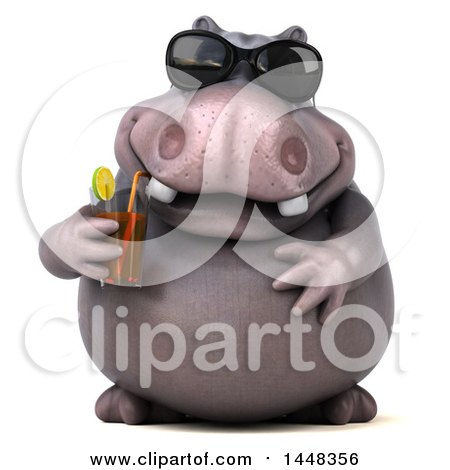 Clipart of a 3d Henry Hippo Character Wearing Sunglasses and Shipping a Drink, on a White Background - Royalty Free Illustration by Julos
