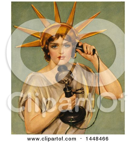 Vintage Illustration of the Statue of Liberty Talking on a Candlestick Phone by JVPD