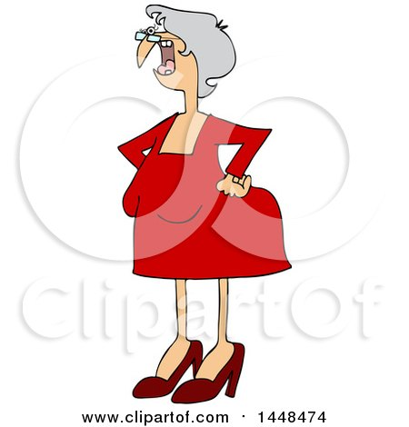 Clipart Of A Cartoon Old White Woman Shouting And Standing With Her Hands On Her Hips Royalty Free Vector Illustration