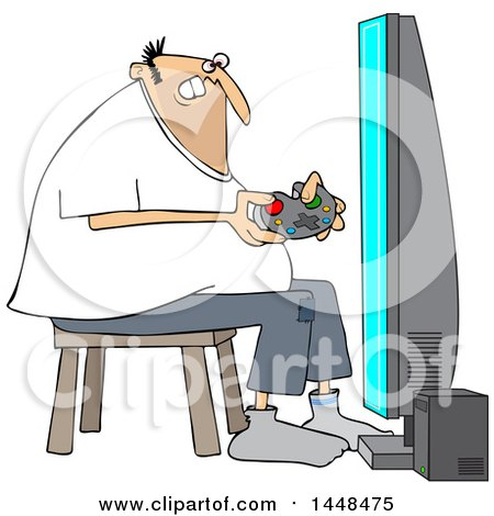 Clipart Of A Cartoon Chubby White Man Playing Video Games Royalty Free Vector Illustration