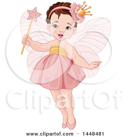 Clipart of a Cute White Brunette Toddler Fairy Girl in Pink - Royalty Free Vector Illustration by Pushkin
