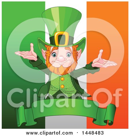 Clipart of a Welcoming St Patricks Day Leprechaun over a Banner and Irish Flag - Royalty Free Vector Illustration by Pushkin