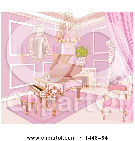 Clipart of a Pink Piano in a Palace Music Room - Royalty Free Vector Illustration by Pushkin