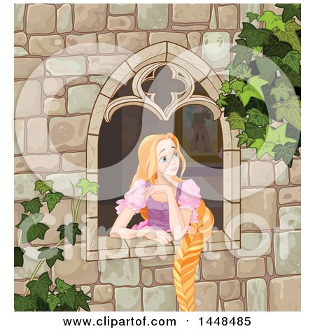 Clipart of a Beautiful Red Haired Blue Eyed Caucasian Woman, Rapunzel, with Her Hair Hanging down from a Window - Royalty Free Vector Illustration by Pushkin
