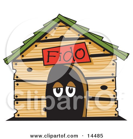 Dog's Eyes in a Dog House Clipart Illustration by Andy Nortnik