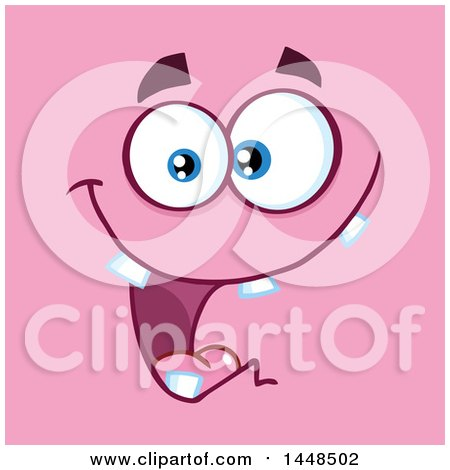 Clipart of a Happy Silly Face with Teeth, on Pink - Royalty Free Vector Illustration by Hit Toon
