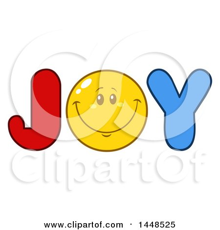 clipart of a cartoon happy smiley face emoji in the word joy rh clipartof com