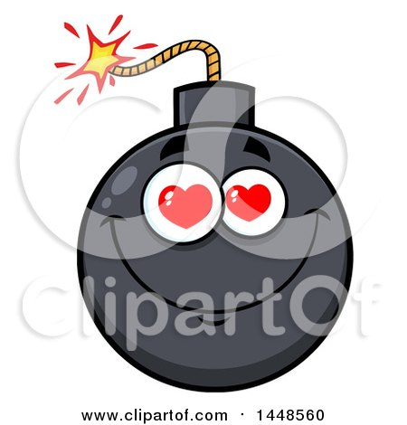 Clipart of a Cartoon Amorous Bomb Mascot Character - Royalty Free Vector Illustration by Hit Toon