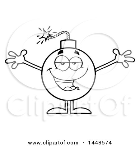 Clipart of a Cartoon Black and White Lineart Loving Bomb Mascot Character with Legs and Arms - Royalty Free Vector Illustration by Hit Toon