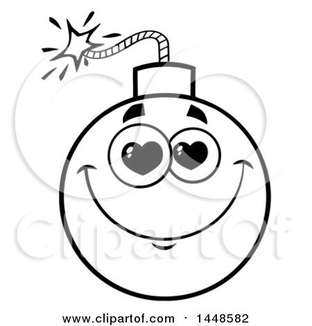 Clipart of a Cartoon Black and White Lineart Amorous Bomb Mascot Character - Royalty Free Vector Illustration by Hit Toon