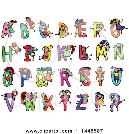 Clipart of a Doodled Sketch of Stick Children and Alphabet Letters - Royalty Free Vector Illustration by Prawny
