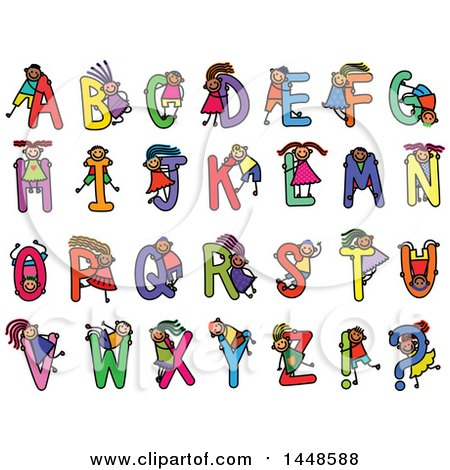 Clipart of a Doodled Sketch of Stick Children and Colorful Alphabet Letters - Royalty Free Vector Illustration by Prawny