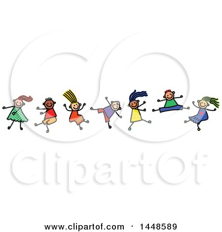 Clipart of a Doodled Sketch of Stick Children Dancing - Royalty Free Vector Illustration by Prawny