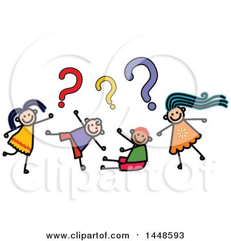 Clipart of a Doodled Sketch of Stick Children Asking Questions ...